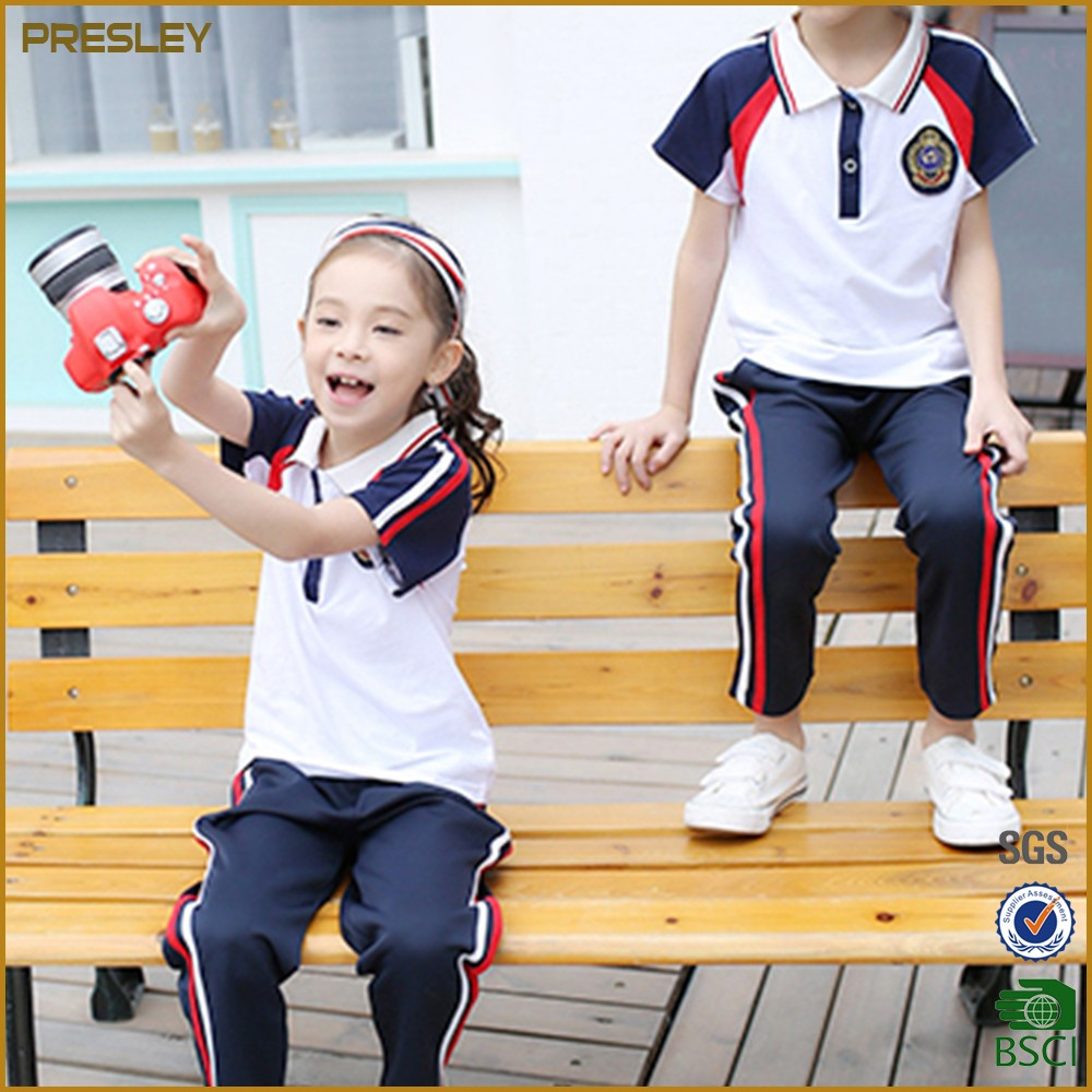 2017 Wholesale Kids Polo T-Shirt Shorts Skirt Primary Summer School Uniform Design Good Quality With Cheap Price
