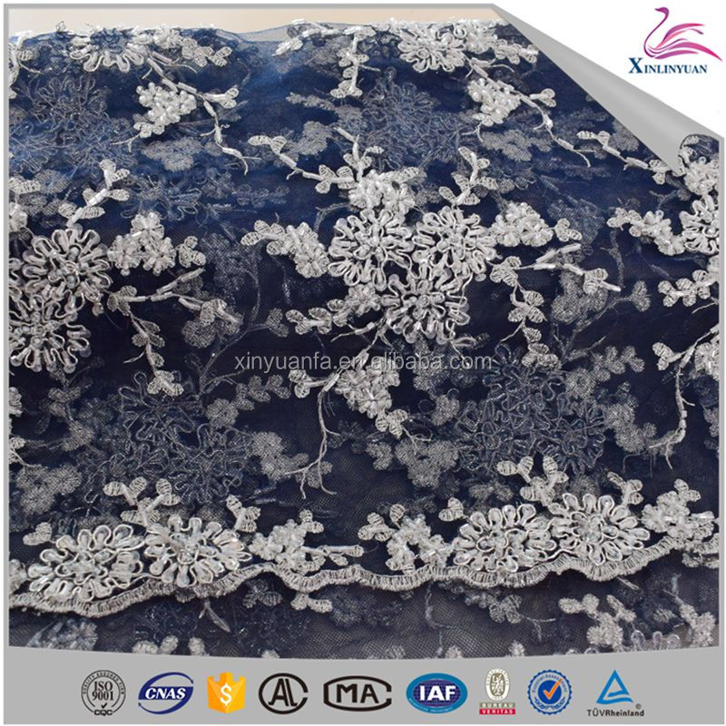2017 Handmade beaded lace fabric sequins embroidered lace for dress