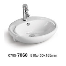 0795-7060 Popular design square shape hand wash basin ceramic sink bathroom 510*430*155mm