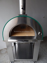 Full stainless steel wood fired pizza oven lighting