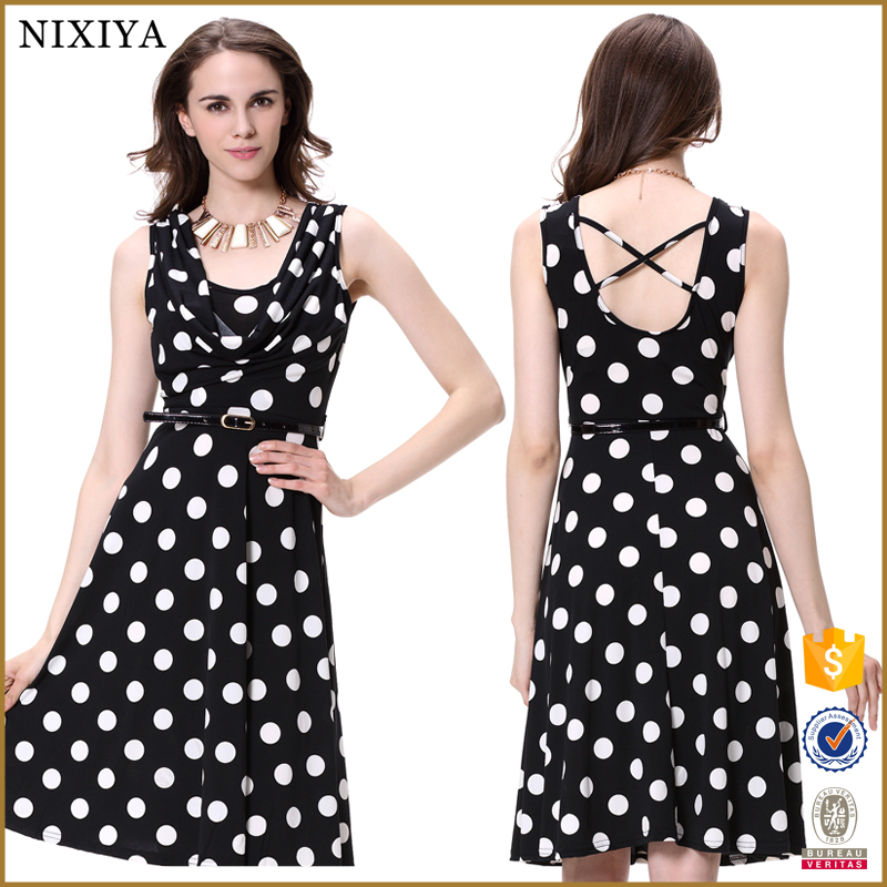 2016 fashion women ITY fabric fat size party polka dot dress
