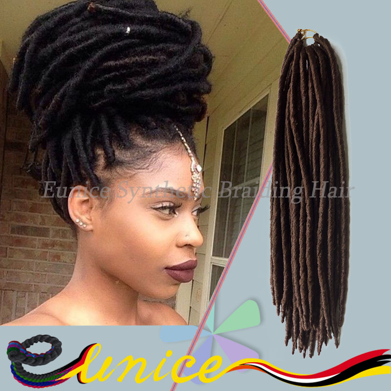 Crochet Dreads Lock Hair Extension Synthetic Bulk Hair Extension 14''&18'' Pure Color Synthetic Hair
