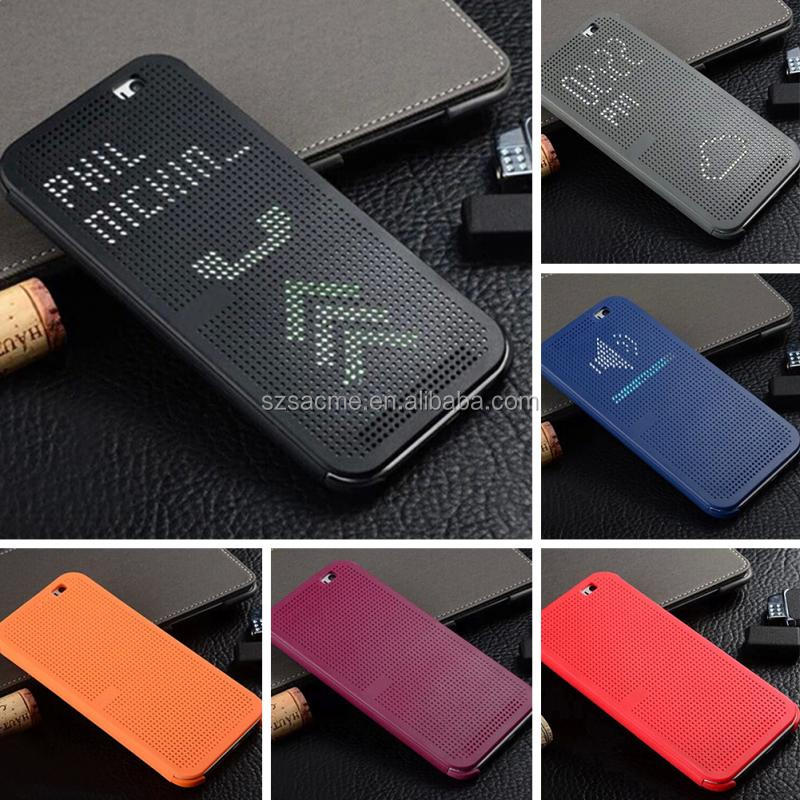 Smart Auto Sleep Wake Up Soft Silicone Flip Leather Cover For HTC Desire 620 Dot View Case