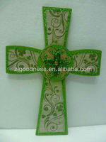 HOT SALE HANDMADE WOODEN CROSS W/GLITTER WOODEN WALL DECOR