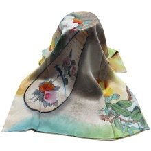 Birds pattern Long Silk and Silk Raised Double Layers women Fashion Scarf
