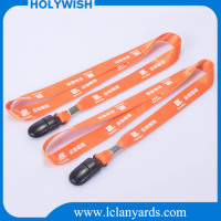 Custom logo printed id lanyard with plastic bulldog clip