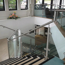 outside stair hand railing with tempered glass