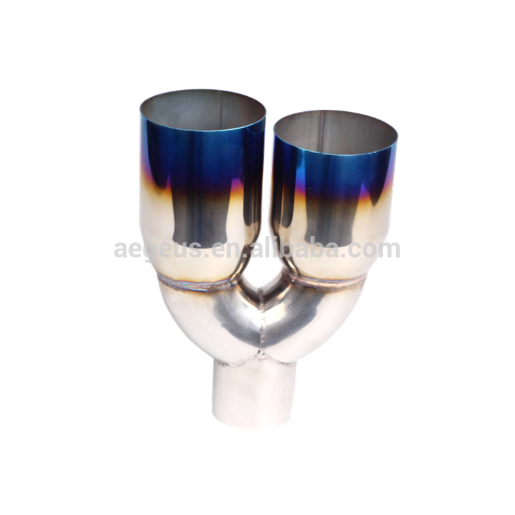 "High quality auto parts Blue Burnt Dual Outlets Exhaust Pipe Tip Polished Stainless Steel 2.5""In 3.5""Out"