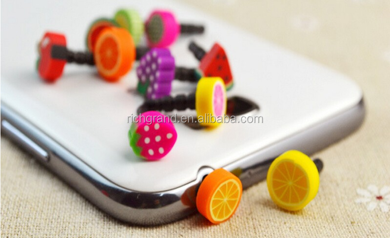 Wholesale Funny Candy Fruit Mobile Phone Dust Proof Plug all phones for 3.5mm earphone