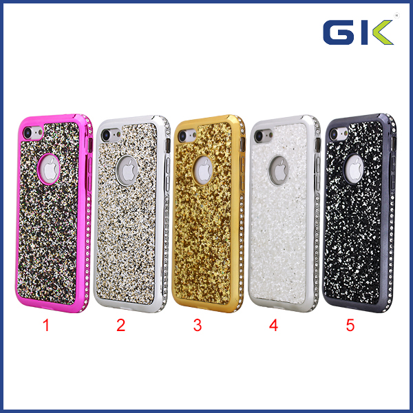 [GGIT] Glitter Skin With Border Diamond Electroplating Back Cover For IPhone 7 TPU Cell Phone Case