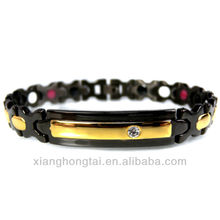 Two Tones FIR, Anion and Magnet Energy Stainless Steel Bracelet with CZ Stones