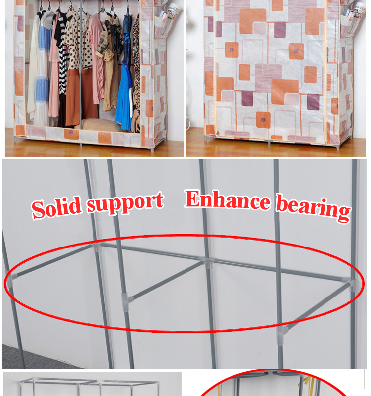 Big size 110cm rolling door non-woven fabric wardrobe with cover 10130