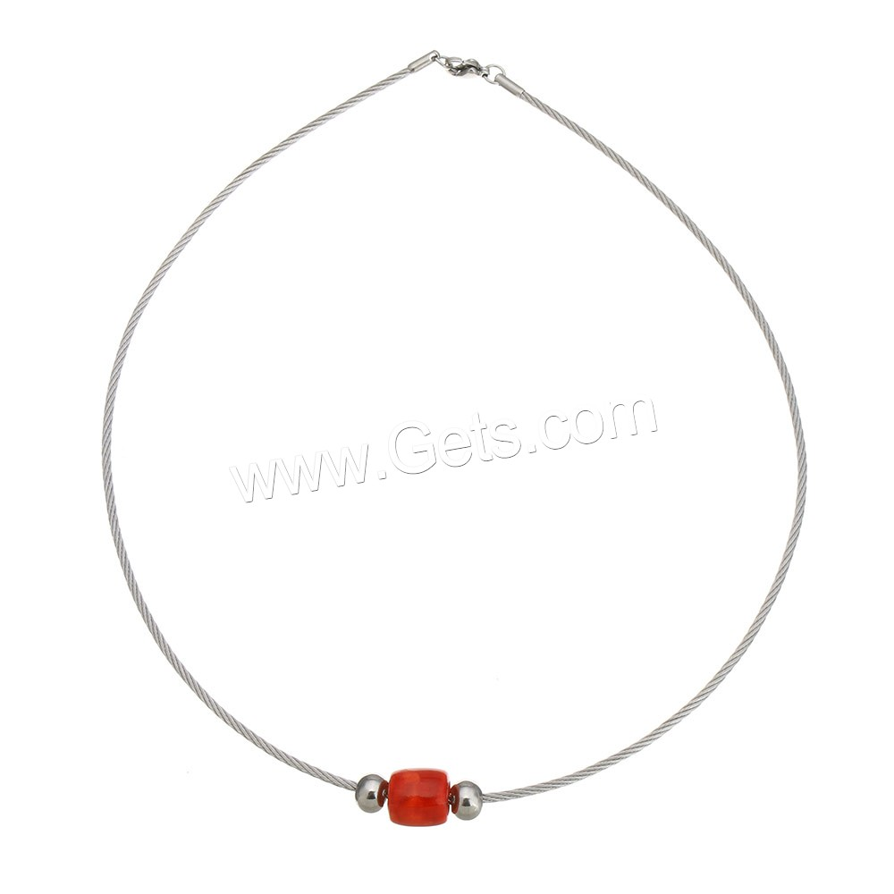 choker Stainless Steel Collar with Resin for woman 11.5x11.5x11.5mm 6x8x8mm 2mm Length:Approx 18 Inch Sold By PC