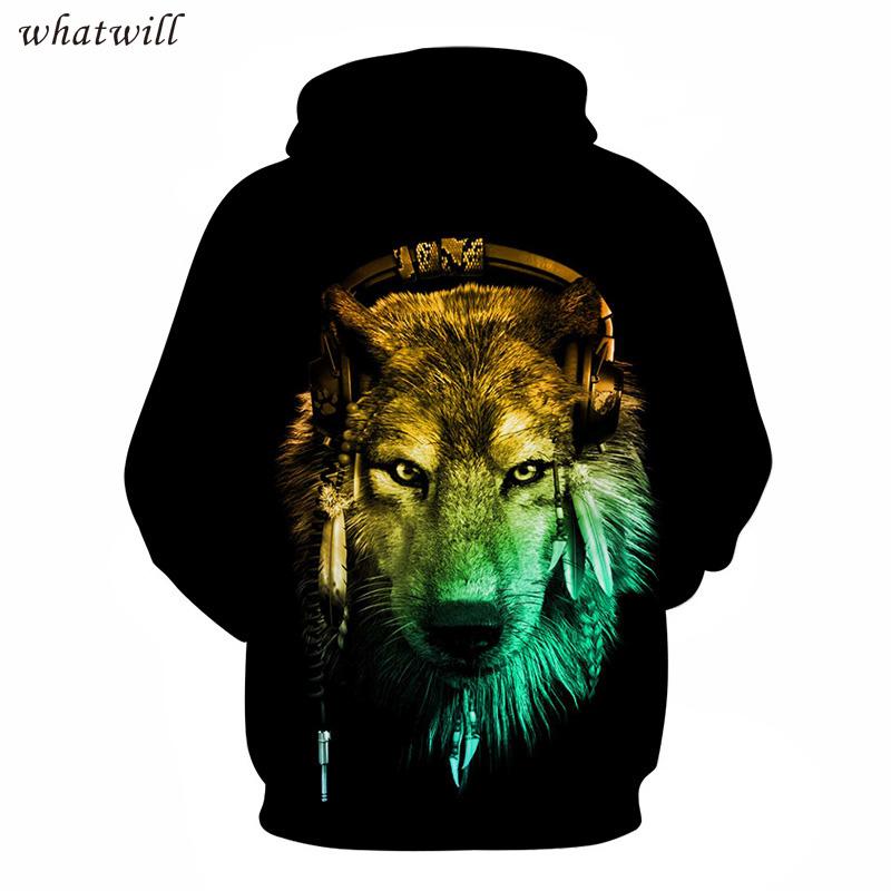 hip hop 3d wolf hoodies & sweatshirts fashion hoodies casual sweatshirt hoody pullovers sudadera hombre