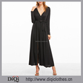 2017 Latest designs china factory wholesale price women Black Deep V Neck Slit Front Wrap Dress With Belt