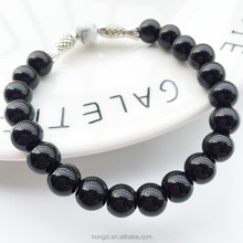 European and American fashion lava stone natural stone agate silver fish men and women natural stone bracelet