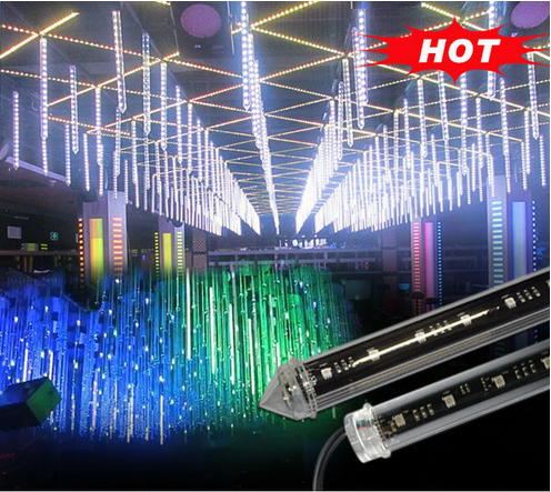 indoor disco bar club outdoor tree rigid dmx 512 signal meteor starfall led tube christmas light