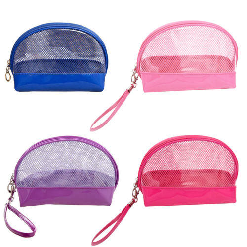 Mini Small Wristlet waterproof Mesh Transparent Clear PVC Cosmetic makeup Bag