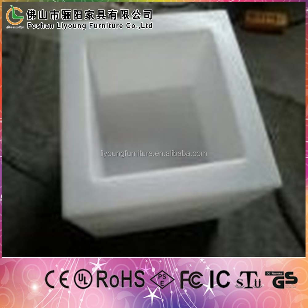 rotating mould PE plastic Square Big light up led ice bucket ice pail for cool bear vine