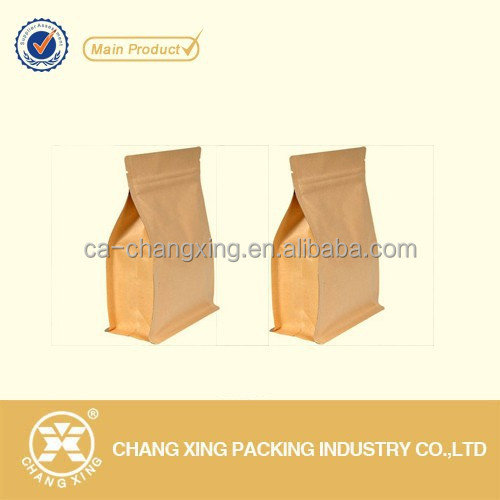 recloseable box bottom kraft paper bags manufacturers with 23 year history in flexible food packaging industry