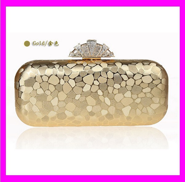 JD955 Glod hard case girls clutch bag ladies gold evening bag