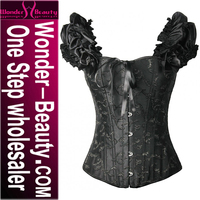 High Quality Hollow Out Black Sexy Busty Corset Lingerie