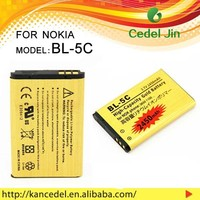 the cell phone battery BL-5C For nokia 2322c 2323c/2330c/2332c/2355/2600/2610/2626/2700c/2710N/2730c/3100/32450mAh gold battery