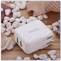 Intelligent 2 usb wall charger for travel or home