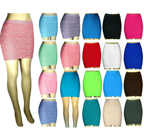 2017 Fashion OEM Women Sexy A-Line Mini Skirt Pleated Seamless Stretch Tight Fitted Bodycon Skirt