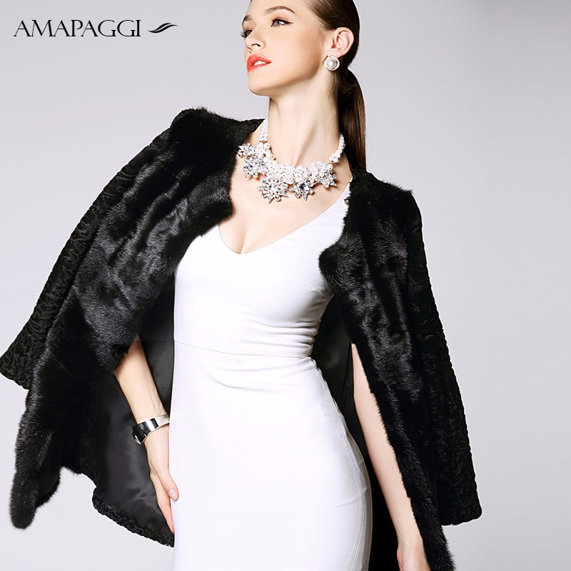 OEM black long women mink fur coat with Karakul