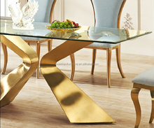 New design clear crayal glass top rose gold metal base dining table