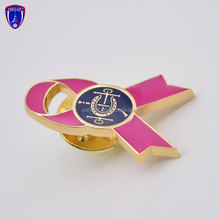 customised charity Cancer badge with pink ribbon design