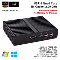Barebone Mini Computer HTPC Rugged PC Baytrail Intel Pentium N3510 Quad Core 2.0GHz Support Kodi XBMC Win 7 8 DHL Free Shipping