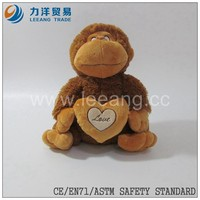 plush monkey toy with a heart holding Stuffed Wild Animal Toy With A Big Heart, Custom toys,CE/ASTM safety stardard