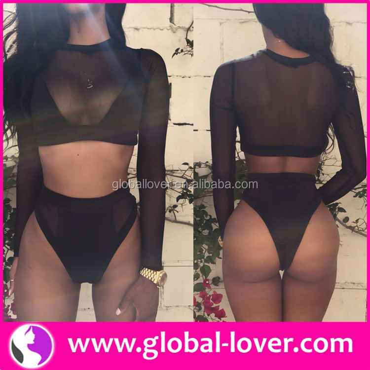 top quality black long sleeve 2014 hot open sex girl bikini models