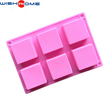 JianMei brand 2017 high quality 6 square chocolate silicone cake mold or silicon mold soap