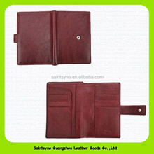 14028 Wine red color Book style custom leather passport holder / cover / wallet / case with 3 credit card holders