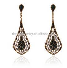 Vintage Gold Plated Colorful Rhinestones Resin EarDrop 100% Man-made Trendy Elegance Dangler big ethnic earrings