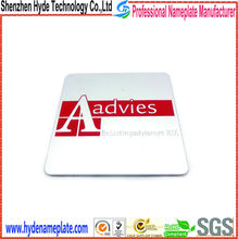Etched red anodized aluminum equipment Aadvies logo