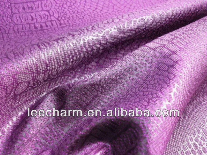 Polyester Lurex Metallic Blend Alligator pattern Fabric
