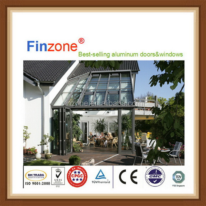 Economic top sell curved tempered glass sunrooms