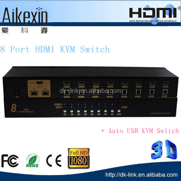 Factory supply 8 port auto USB HDMI KVM switch with 8 HDMI cables switch by push button hotkey