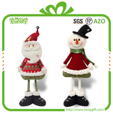 Best selling shantou table top decorative dolls plush stuffed toy christmas decoration standing snowman santa clause ornaments