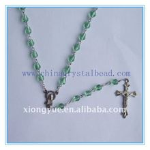 fashion crystal beads rosary necklaces with cross pendant