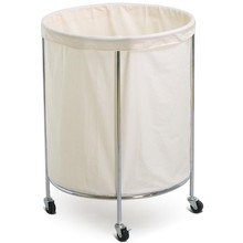 Large Round Dirty Clothes Hamper Bin Clothes Bag White Hotel Laundry Basket for Nursery,College Dorms,Kids Room & Bathroom