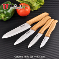 TJC-163W white blade bamboo handle ceramic knife with cover