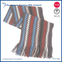 2016 Fashion New Design Customize 100% Acrylic Stripe Thick Fall Winter Warm Adult Women Teen Girl Multi Color Knit Scarf Wrap