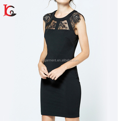 hot sale latest formal dresses patterns one piece slim fit sweet sexy black lace new fashion ladies dress