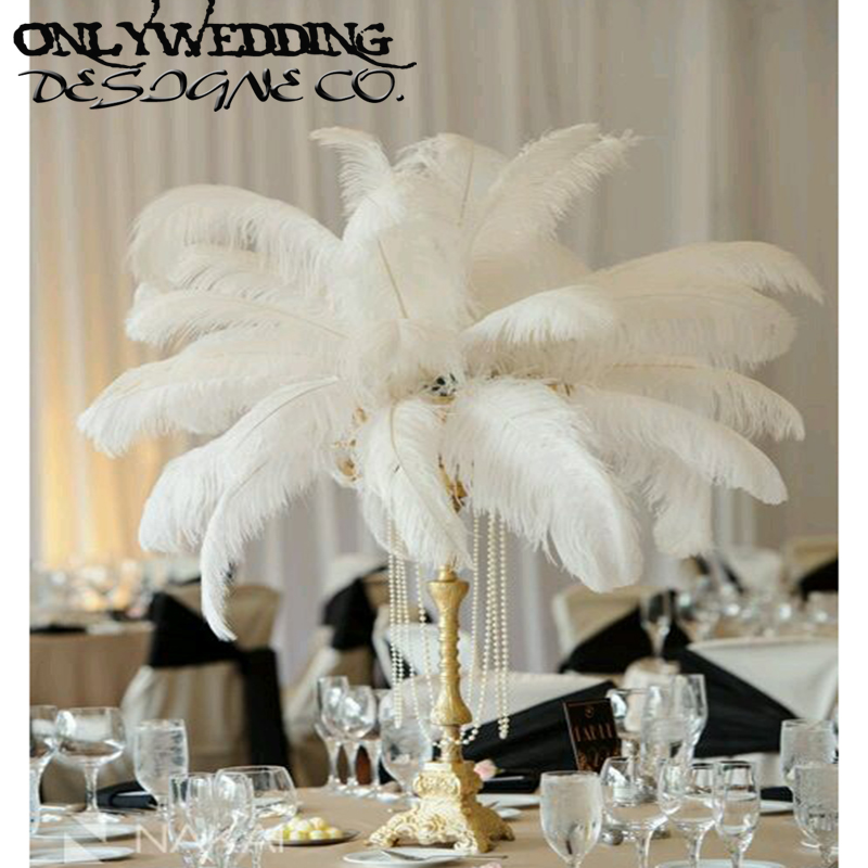 Ow wedding table centerpiece white ostrich feather