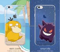 In store pokemon phone case OEM printing durable transparent cartoon cover for iphone 6/6s